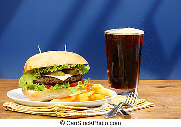 burger, french fries and soda pop