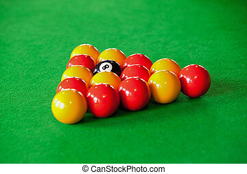 Close up of billiard balls