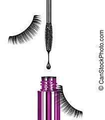 Close-up of black mascara brush with drop and false eyelashes on white background