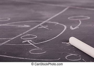 Close up of blackboard for coaching tactics and strategies