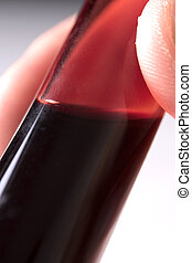 close up of blood in test tube