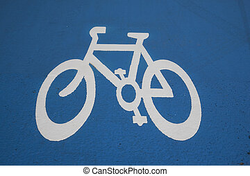 Close up of Blue Bike Lane Sign