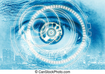 Close up of blue cyber eye on city background. Double exposure. Identity concept
