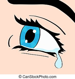 Close up of blue eye and tear, a woman crying, pop art comic...