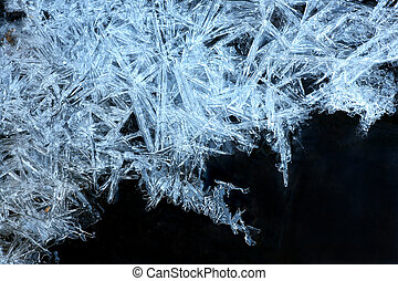 blue ice crystals - close up of blue ice crystals forming ...
