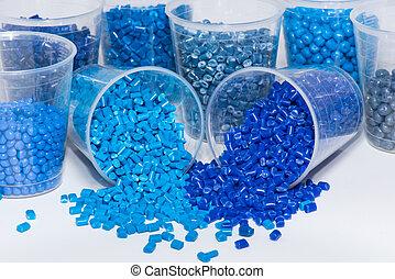 close-up of blue plastic pellets