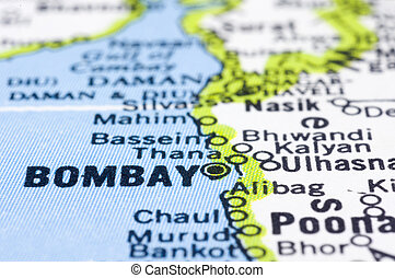 close up of Bombay on map, India.