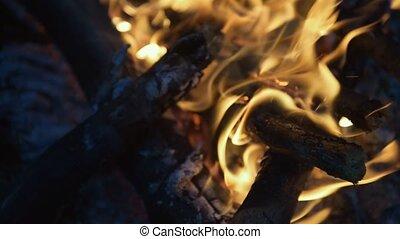 Close up of bonfire burning at night - So bright. Close up...
