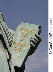 close up of book in hands of statue of liberty in Tokyo