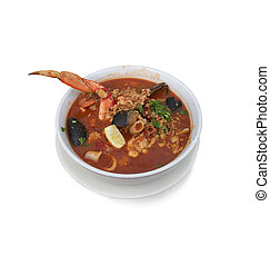 Seafood Stew on white background