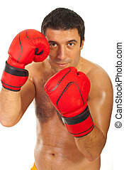Close up of boxer man