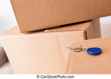 Close up of boxes and keys