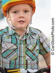 Close up of Boy in Helmet