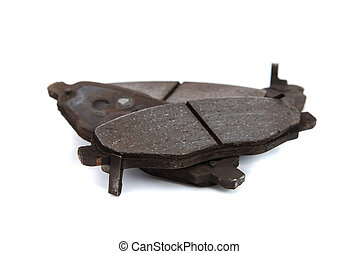 Close up of brake pad - Close up of old rusty brake pad on...