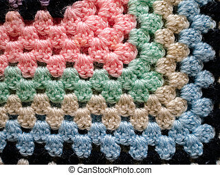 Close up of bright crochet fabric blanket