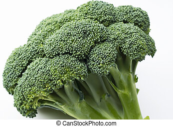 Close-up of broccoli placed on a white background