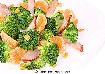 Close up of broccoli salad.