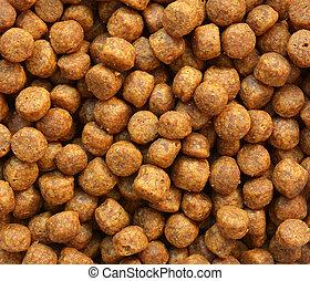Close up of brown dog food