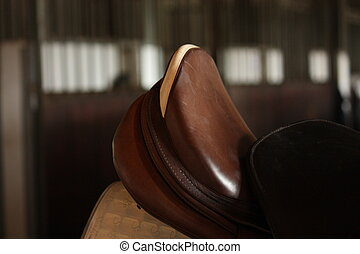 Close up of brown horse saddle - Close up of brown leather...