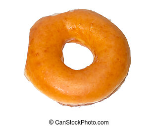 Close up of Brown Original Donut on a White Background