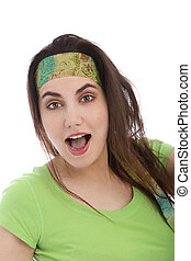 Brunette Woman Wearing Headband with Open Mouth