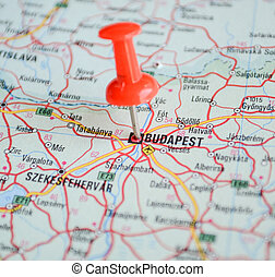 Close up of Budapest map with red pin - Travel concept