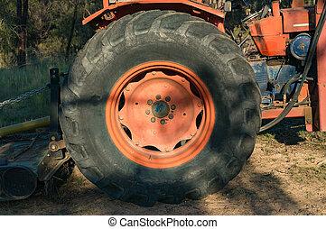 Close up of bulldozer wheel