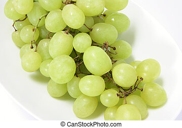 Bunch of Green Grapes on Plate
