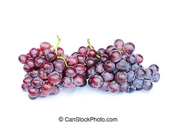 Close up of Bunch of red grapes on white backgrounds