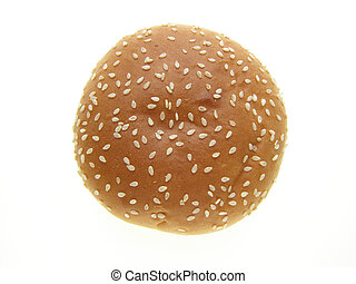 burger bun - Close-up of burger bun with sesame seeds on ...