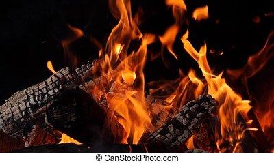 Close-up of burning fire, flames burning on black background, slow motion