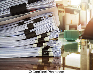 Close up of business documents stack