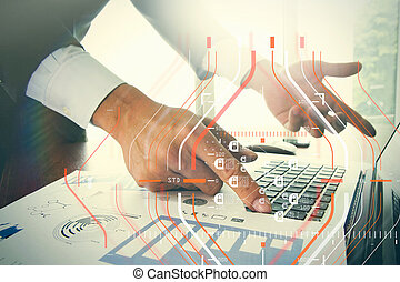 Close up of business man hand working on blank screen laptop...