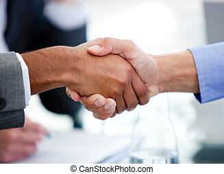 Close-up of business partners shaking hands in a meeting