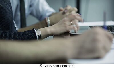 Close up of business people hands