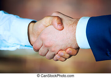 Close up of business people shaking hands.