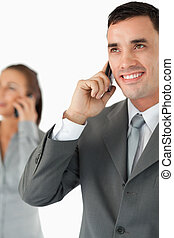 Close up of business team on the phone
