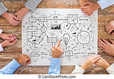 close up of business team pointing to scheme - business,...