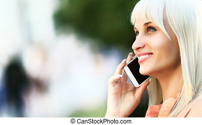 Close up of business woman on the phone