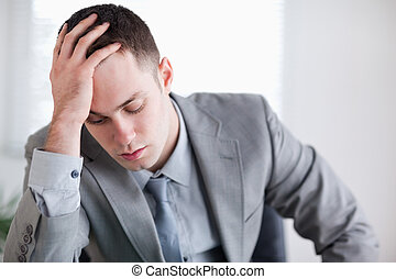 Close up of businessman after getting bad news