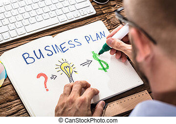 Businessman Drawing Business Plan On Notebook