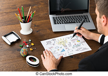 Close-up Of Businessman Drawing Diagram Of Start-up Plan