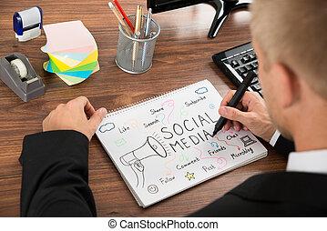 Businessman Drawing Social Media Diagram