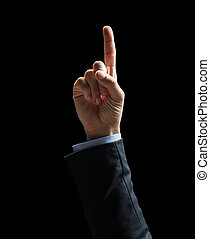 close up of businessman hand pointing finger