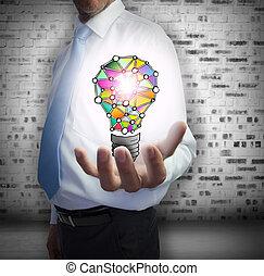 Close up of businessman hand show
