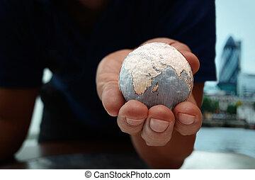 close up of businessman hand showing texture the world