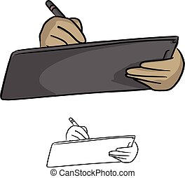 Close up of businessman hand using stylus pen for touching...