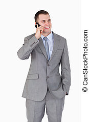 Close up of businessman on the mobile phone