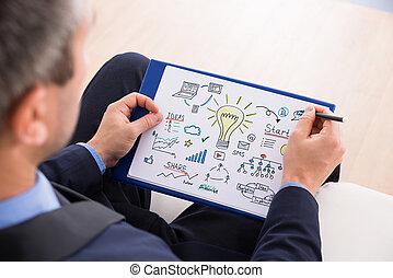 Businessman Preparing Startup Plan - Close-up Of Businessman...