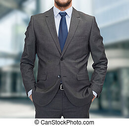 close up of businessman standing outdoors - business and...